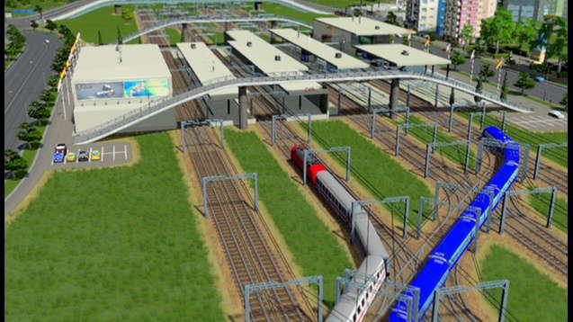 Железнодорожная станция с 8 путями