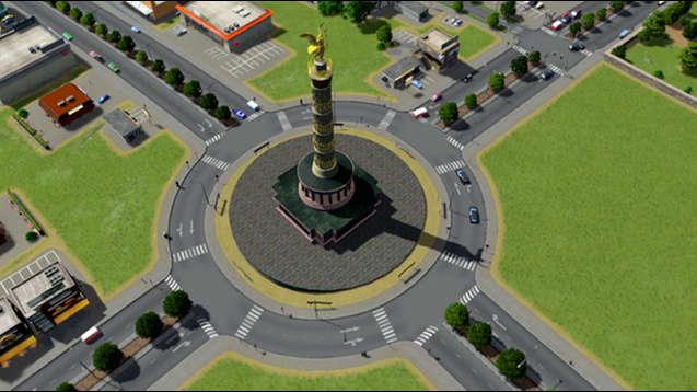 Круговое движение с памятником победы