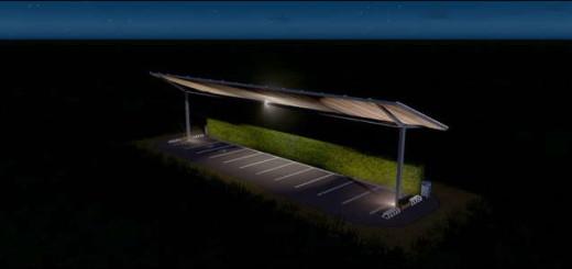 Парковка в солярными панелями